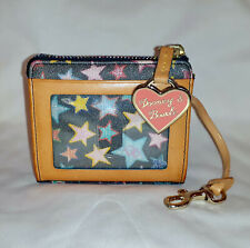 Dooney & Bourke Small Coin Purse Wallet ID Key Holder Rare Coated Canvas Stars