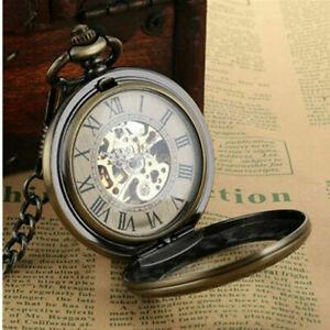 Men's Mechanical Skeleton Pocket Watch Double Hunter Vintage Bronze Watch+Chain