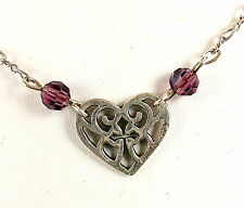 Vintage Sterling Silver and Amethyst Filigree Heart Necklace