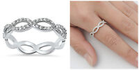 Sterling Silver 925 ALL ROUND INFINITY KNOT DESIGN PROMISE CZ RING 4MM SIZES 5-9