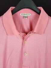 PETER MILLAR Mens Pink w/ Blue Striped S/S Golf Polo Shirt Large L
