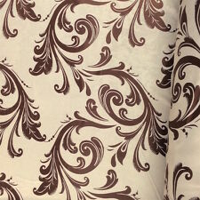 "Brown Damask Velvet Jacquard Brocade Fabric 118"" Wide Sold By the Yard (901-2)"