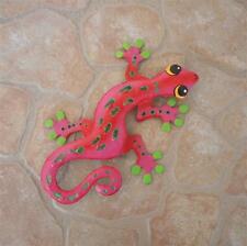 """8"""" Metal Sculptured Pink Gecko Lizard Wall Hanging Tropical Garden Art Decor"""