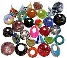 Wholesale 20 Assorted Murano Style Glass Necklace Pendants ~  2nd Quality