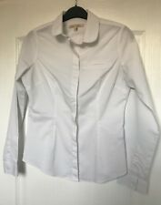 """Next Petites"" White Fitted Shirt, Size 6, Long Sleeves, Stretch, Immaculate"