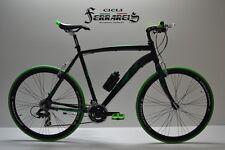 Bici ibrida 28 nero verde 21v completamente personalizzabile
