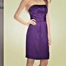 David's Bridal Satin Strapless Gown Dress Navy Blue Cummerbund Formal 83707 8 M