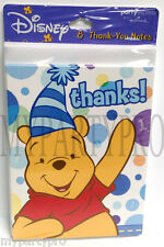 Winnie the Pooh Thank you Note Cards Blue Favor Birthday Party Supplies