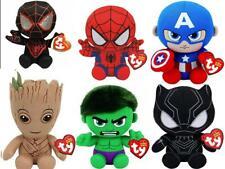 TY Groot Spiderman Hulk Iron Man Captain America Ty Beanie Plush Soft Toy