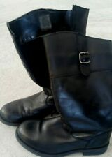 Girls Black Leather Buckle Zip Boots Size UK 2 and EU 34 EXCELLENT condition