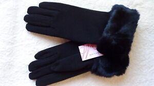 MORGAN & TAYLOR Gloves Black Fine Stretch Knit Material.