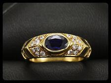 Schöner Brillant Saphir Ring mit kleiner Ringweite 47   750/- Gelbgold