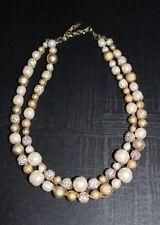"Elegant Sparkling Woman's Gold Beaded Necklace 15"" strand string w/bracelet"