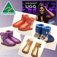 New HAND-MADE Australia Shearers UGG Crystal Button Mini Glitter Sheepskin Boots