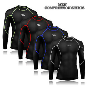 Men Compression Armor Base Layer Top Long Sleeve Thermal Gym Sport Shirt Cycling