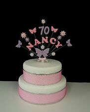 Butterfly and flower birthday, christening personalised name, age cake topper