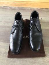 a. Testoni Men's Black  Leather Ankle Boots Size 11G