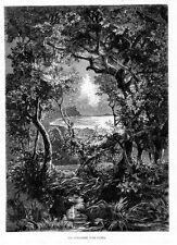 Stampa antica CUMA Bacoli spiaggia di notte Napoli 1880 Old print