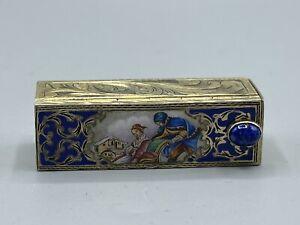 Rare Art Deco Hallmarked 800 Silver & Guilloche Enamel Lipstick & Mirror  Holder