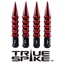 """20 TRUE SPIKE 1/2"""" STEEL LUG NUTS RED RIBBED SPIKES FOR DODGE JEEP PLYMOUTH"""