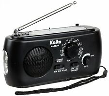 Kaito Ka332W Weather Radio with Am/Fm Flashlight Solar and Crank Power Black