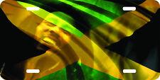airbrushed aluminum bob marley rasta reggae plate jamaica art license plate