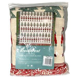 NOS FIELDCREST COTTON LOOM WOVEN THROW BLANKET NUTCRACKER CHRISTMAS TREES  50X60