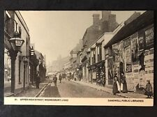 RP Vintage Postcard - Staffs. #B15 - Upper High Street, Wednesbury c1900 Adverts