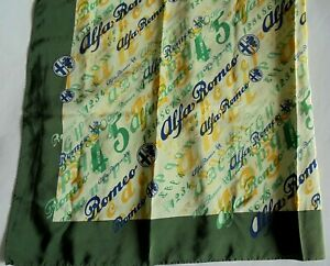 Alfa Romeo Scarf Sciarpa 100% Silk Green Yellow Ivory Official Product Unused