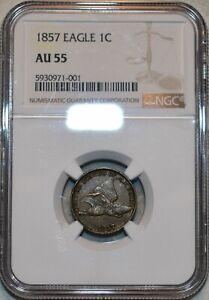 NGC AU-55 1857 Flying Eagle Cent, Sharp, lustrous specimen.