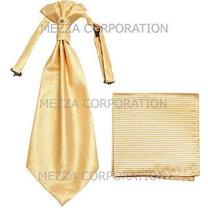 New 100% Polyester Men's Horizontal Stripes Ascot Cravat Hankie Party Ivory