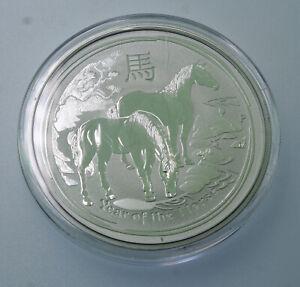 2014 SILVER AUSTRALIA $2 LUNAR 2 OZ YEAR OF THE HORSE PERTH MINT COIN IN CAPSULE