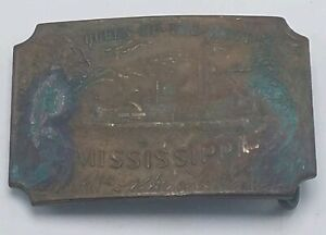Vintage Solid Brass Tiffany Western Belt Buckle Queen of the West Mississippi