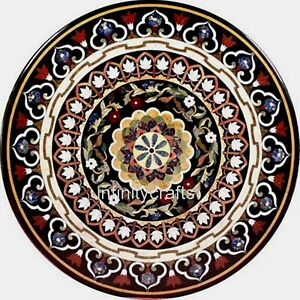 54 Inches Marble Dining Table Top with Mosaic Art Reception Table Hand Crafted