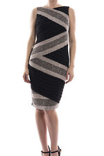 Joseph Ribkoff Black Silver Crochet Silky Knit Dress 174524 US 8 UK 10 NEW