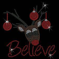 Christmas Reindeer Believe Crystal Iron on T Shirt Design Transfer