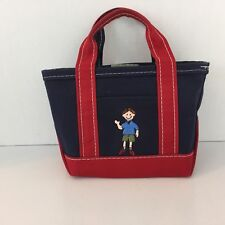 L.L. Bean boat and tote small canvas bag boy embroidered vintage red blue L02