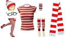 NEW LADIES RED AND WHITE STRIPED  HAT GLASSES SOCKS FANCY DRESS PARTY SET