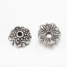 100x Tibetan Flower Bead Cap Antique Silver Tone Spacer Floral Jewelry Findings