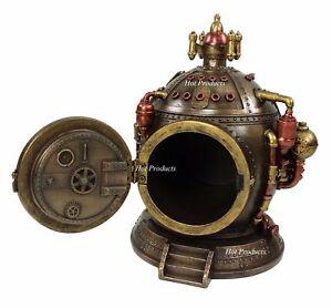 Steampunk Time Machine / Dive Helmet Clock Statue With Hidden Trinket Stash Box