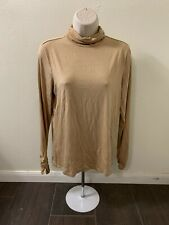Chicos Tan Turtleneck Soft Knit Ruched Longsleeve Women Size 0 (Small)