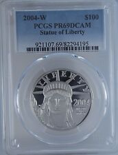 2004-W PCGS PR69 DCAM Statue of Liberty $100 1 OZ Platinum MS69 Coin Ultra Cameo
