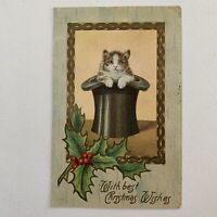 Antique Embossed Christmas Wishes Postcard Cute Tabby Cat In Top Hat