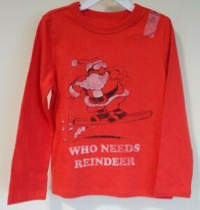BNWT Gap Kids Red Who Needs Reindeer Snowboarding Santa Shirt Size Large / 10