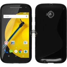 TPU Silicone Case For Motorola Moto E 2nd Gen 2015 - Black Gel S Line Cover Skin