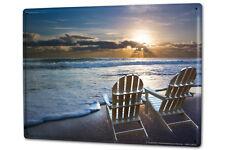 Cartel Letrero de Chapa XXL Esotérico  Sillas de cubierta en la playa