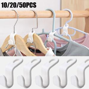 50Pcs Clothes Hanger Connector Hooks Cascading Hangers Space Saving Organizer
