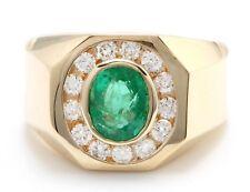 1.86 Quilate Natural Esmeralda Zambiana & Diamantes 14K Oro Amarillo Hombres