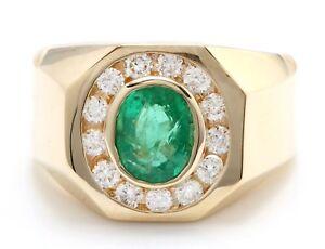 1.80 Carat Natural Zambian Emerald & Diamonds in 14K Solid Yellow Gold Men Ring