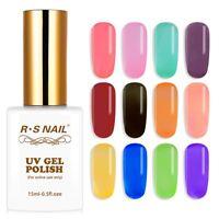 RS Nail Gel Nail Polish UV LED Varnish Soak Off Glass Transparent Colours 15ml